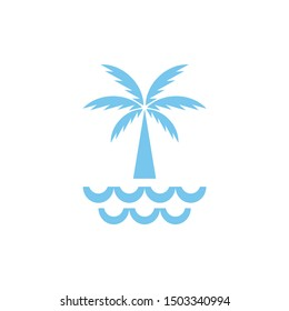 summer plam trees silhouette with ocean and waves logo design