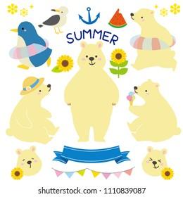 Summer polar bear illustration set