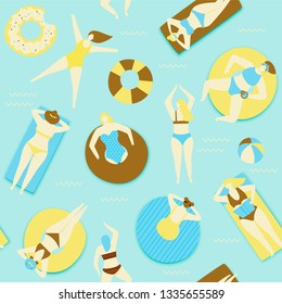 Summer pool illustration, people swimming on rubber ring and beach raft