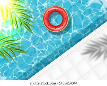 Summer pool and life ring Vector realistic. Commercial banner sale template. 3d detailed water background