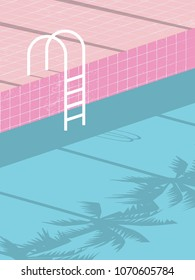 Summer pool party blank invitation poster, flyer vector template with vintage swimming pool background and steps ladder. Eps10 vector illustration.