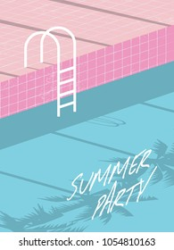 Summer pool party invitation flyer, poster, template, banner with retro swimming pool and steps. Eps10 vector illustration.