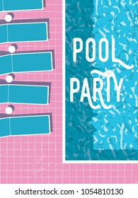 Summer pool party invitation poster, flyer vector template with vintage swimming pool background and sunbeds. Eps10 vector illustration.