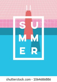 Summer pool party invitation poster, flyer vector template with vintage swimming pool background and jumping board. Eps10 vector illustration.