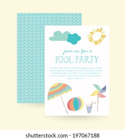 Summer Pool Party Invitation Vector Template.