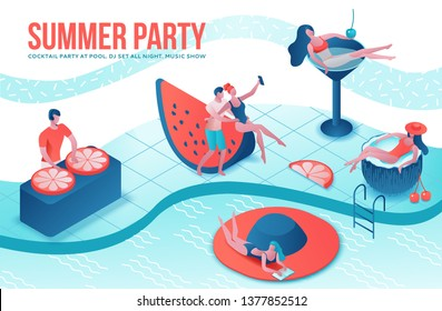 Summer Pool party isometric 3d illustration with cartoon people in swimsuit, drinking cocktail, relax, recreation spa concept, watermelon, orange, summer event background, leisure time
