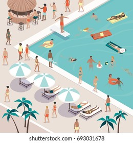 Summer pool party and people gathering, they are swimming, sunbathing, having drinks at the bar and relaxing at the resort, vacations and leisure concept