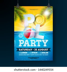 Summer pool party poster design template with palm leaves, water, beach ball and float on blue underwater ocean background. Vector holiday illustration for banner, flyer, invitation, poster.