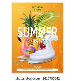 Summer pool party poster. Tropical leaves, fruits, infatable pink flamingo, unicorn in water splash. Vector beach holiday party, summertime vacation banner