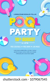 Summer pool party, vector poster, banner layout. Unicorn, flamingo, duck, ball, donut cute floats in water. Top view illustration. Fun holiday background
