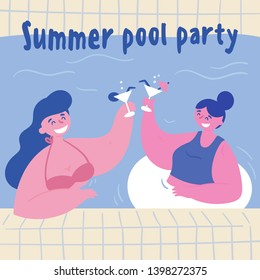 Summer pool party. Women with alcohol coktails in the swimming pool. Two young girls in bikini, swimsuit and inflatable circle are drinking in the water.  Two friends at vacation.  Flat cartoon style