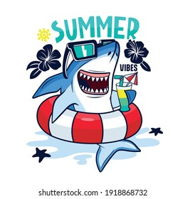 Summer pool party.Shark character design. Fun t-shirt print.