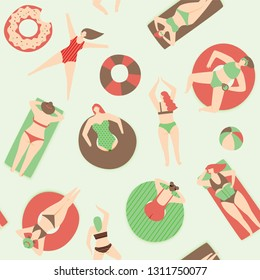 Summer pool pattern, people swimming on rubber ring and beach raft