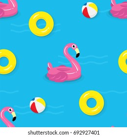 Summer pool Seamless pattern vector illustration, Cute flamingo pool float, balls and yellow inflatable ring floating on water.