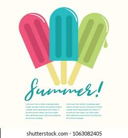 Summer Popsicle Composition – Copy Space