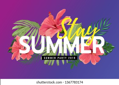 Summer poster, banner in trendy lettering and colorful tropical leaves design for Sale Promotion, card, invitation- Vector