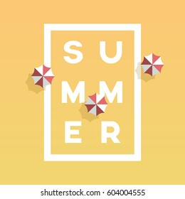 Summer poster or banner vector template with creative typography in frame and beach umbrella around. Summer holiday, vacation promotion. Eps10 vector illustration.