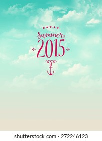 Summer poster, with bright blue sky, fluffy clouds and pink label with anchor and stars