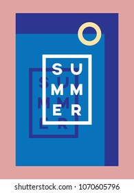 Summer poster or card vector template with swimming pool and typography. Eps10 vector illustration.