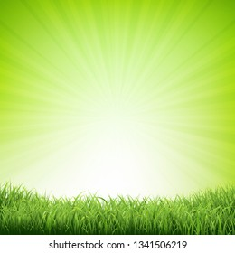 Summer Poster With Grass Border With Gradient Mesh, Vector Illustration