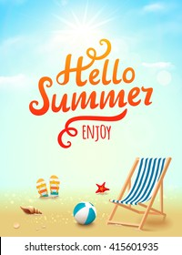 Summer poster with hello summer inscription on beach background with design elements. Vector illustration