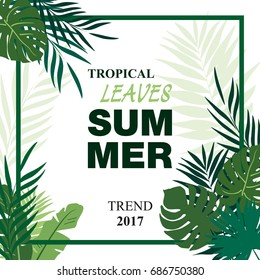 Summer poster with leaves pattern and calligraphic inscription. Vector illustration with palm leaves and bananas leaves. Hello summer. Nature poster.