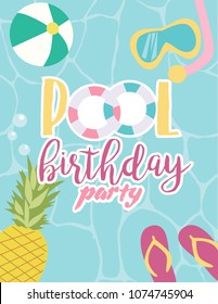 Summer poster for pool party or beach party, invitation for birthday party. Vector illustration