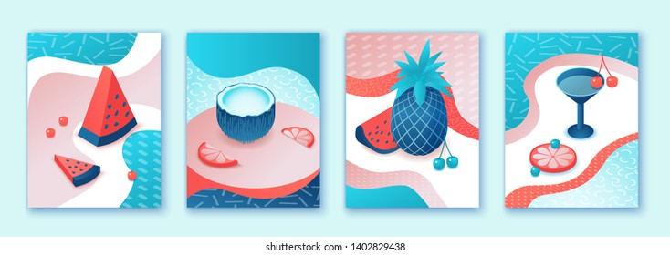 Summer poster set, pool party collection, isometric 3d illustration trendy pop style with cartoon fruits, watermelon, pineapple, citrus, cocktail, relax, recreation spa concept, event background
