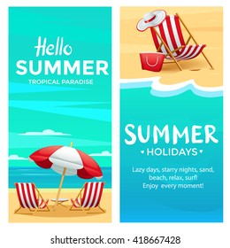 Summer poster template with beach chair, umbrella, ocean and sand, realistic detailed vector illustration