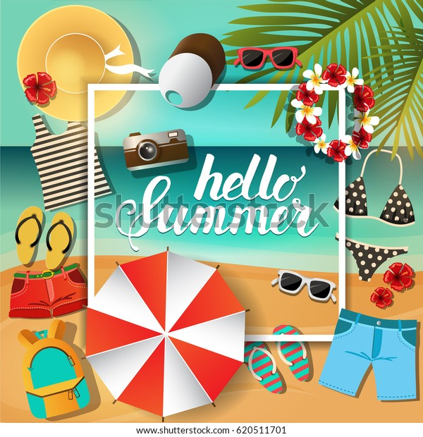Summer Poster Things Tropical Vacation Hello Stock Vector