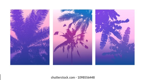 Summer poster, tropical backgrounds set with palms. Summertime poster, flyer, card template palm leaf art