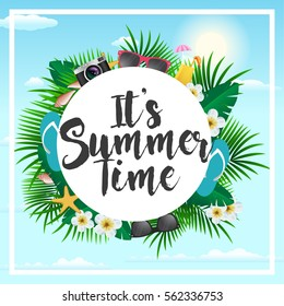 Summer Poster With Tropical Flowers and sky background