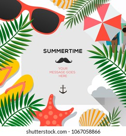 Summer poster with tropical leaves and summer accessories, season sale vector illustration.