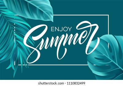 Summer poster with tropical palm leaf and handwriting lettering. Vector illustration EPS10