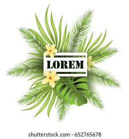 Summer poster with tropical palm leaf and exotic flowers. Vector illustration EPS10