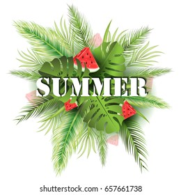 Summer poster with tropical palm leaf and watermelon pieces. Vector illustration EPS10