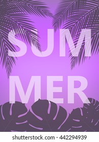 Summer poster. Summer vector illustration with  palm trees and palm leaves.