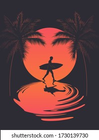 Summer poster with walking surfer silhouette at sunset and reflection on the water and palm silhouettes. Vector illustration