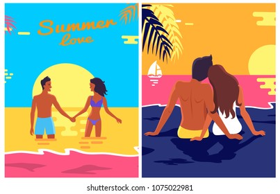 Summer posters set with couple in love on sandy beach and at sunset in deep ocean, sky with clouds on background of vector illustration