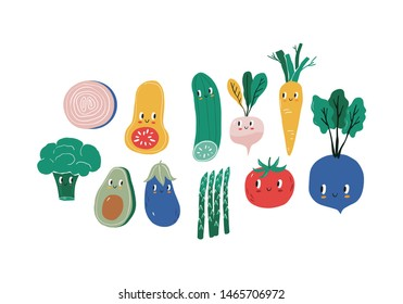 Summer print in modern style with your own vegetables. Hand drawn vegan vegetables poster. Cartoon vegetables character - Carrots, beets, tomatoes, cucumbers, radishes, asparagus