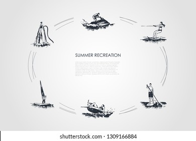 Summer recreation - flyboarding, water skiing, paddle boarding, sailing, jet ski vector concept set. Hand drawn sketch isolated illustration