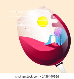 Summer Red Wine Flat Design Vectoral Illustration. With Aegean House Garden. Sun, Seagulls and Clouds Background