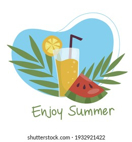 Summer refreshing fruit cocktail. Non-alcoholic drinks in a simple glass glass and straw. Fresh smoothies and slices of fresh fruit against a backdrop of palm leaves. Healthy vegan food. vector flat