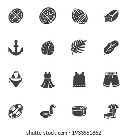 Summer related vector icons set, modern solid symbol collection, filled style pictogram pack. Signs, logo illustration. Set includes icons as summer fruit, swimsuit, beach short, swimming pool, shirt