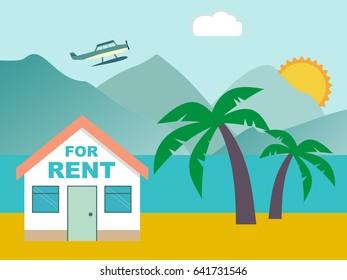 Summer resort. House for rent on the beach. Vector illustration.