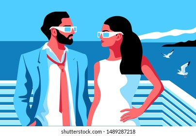 Summer resort scene. Couple in love, bearded man and girl with long hair, wearing summer clothes and sunglasses, standing face to face. Sea background with gulls. Vector illustration