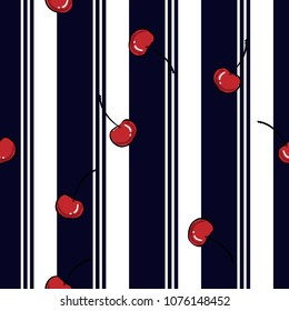Summer resort stripe with fresh red cherry seamless pattern ,vector fot fashion fabric and all prints wallpaper ,book cover,on navy blue line