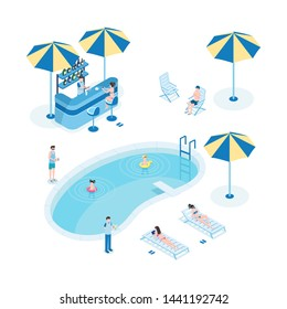 Summer rest near pool isometric vector illustration. Tourists with children, hotel staff 3D cartoon characters. Little kids swim, women sunbathing, waiter holding serving tray with cocktails