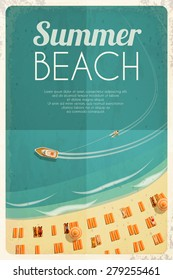 Summer retro beach background with beach chairs and people. Vector illustration, eps10.