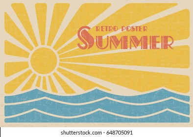 Summer retro poster. Abstract sun and sea vintage design. Vector illustration